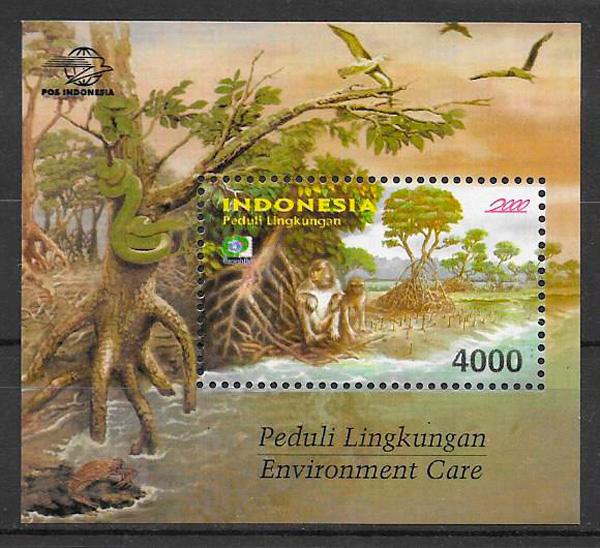 colección sellos fauna y flora Indonesia 2000