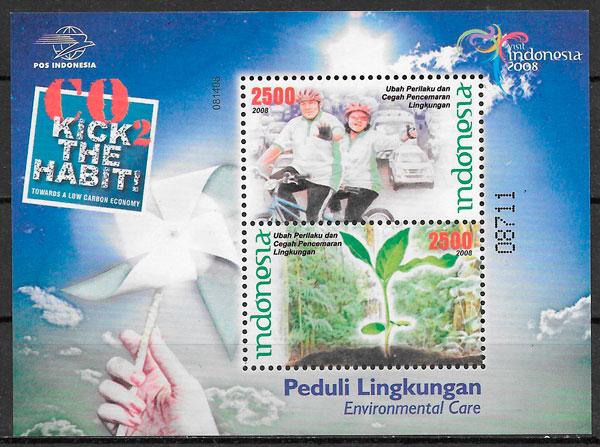 colección sellos flora Indonesia 2008