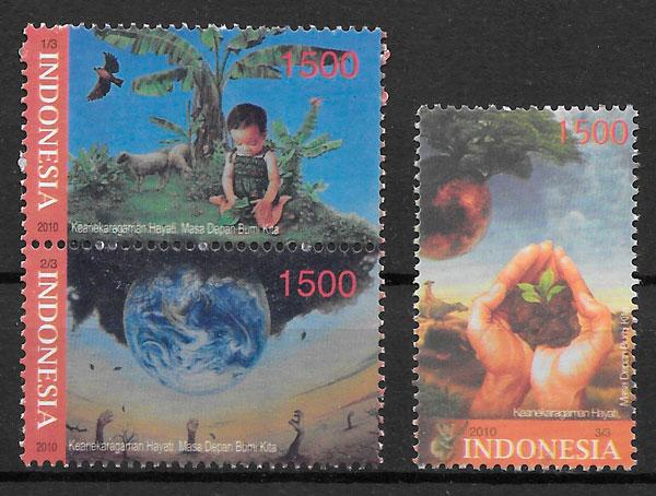 filatelia colección flora Indonesia 2010