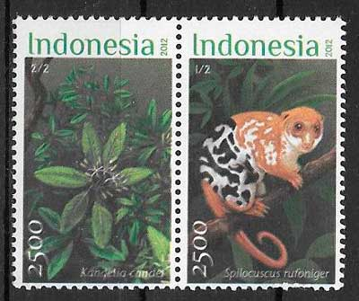 filatelia fauna y flora Indonesia 2012