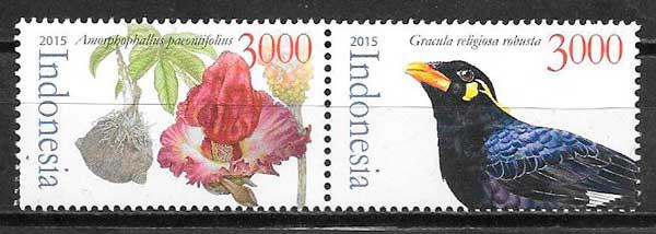 colección sellos fauna y flora Indonesia 2015