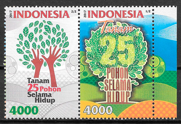 colección sellos flora Indonesia 2017