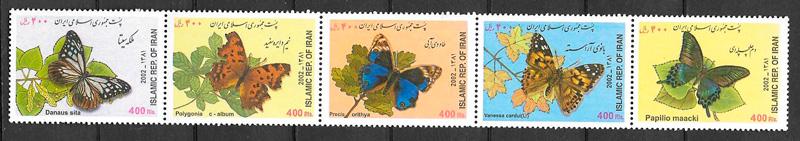 filatelia mariposas Irán 2002