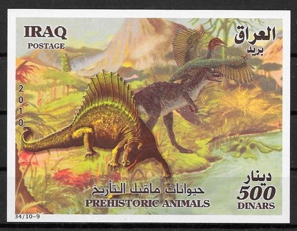 filatelia colección dinosaurios Iraq 2010