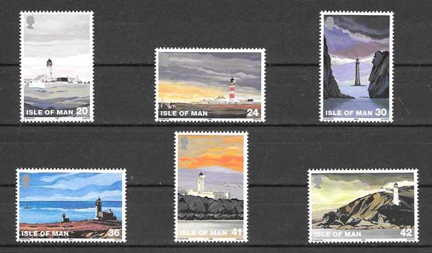 Estampillas Faros Isla de Man 1996