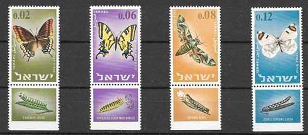 Sellos Israel mariposas 1965