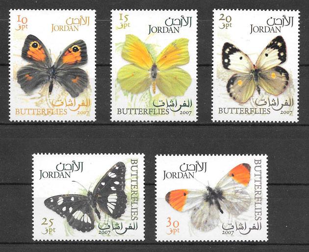colección sellos mariposas Jordania 2007