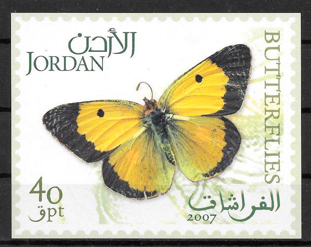 sellos mariposas Jordania 2007