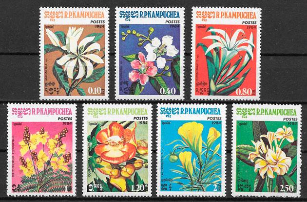 filatelia flora Kampuchea 1984