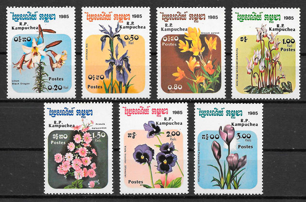 filatelia flora Kampuchea 1985