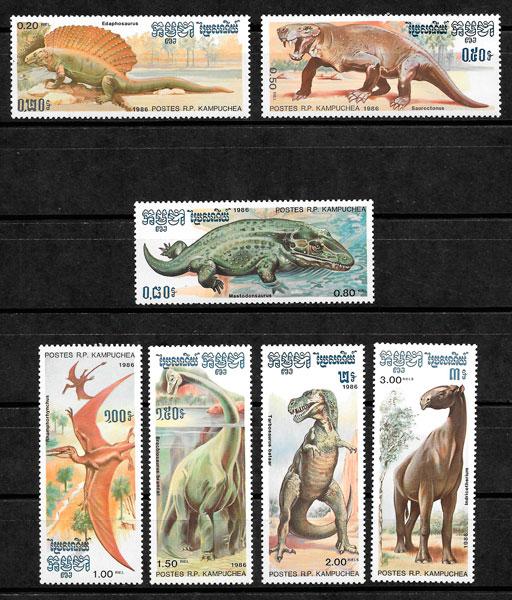 filatelia colección dinosaurios Kampuchea 1986