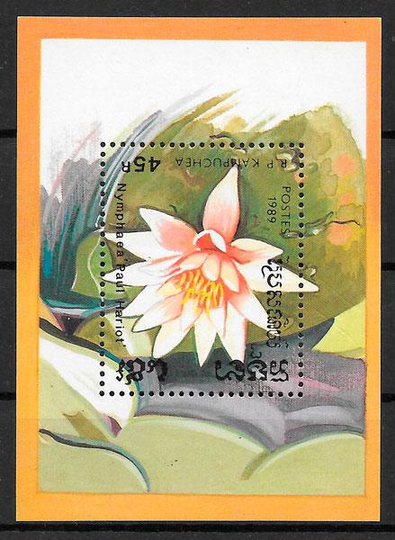 filatelia flora Kampuchea 1989