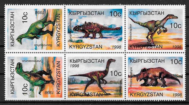 filatelia dinosaurios Kirhiztan 1998