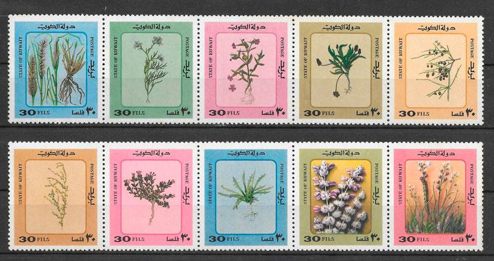sellos flora Kuwait 1983