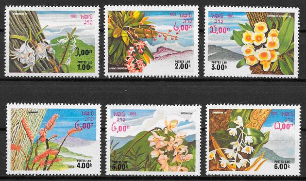 filatelia colección flora Laos 1983