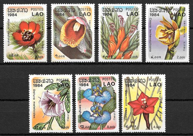 sellos flora Laos 1984
