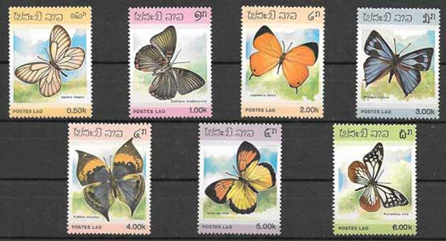 Filatelia fauna - mariposas Laos 1986