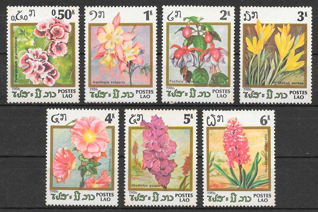 sellos flores Laos 1986