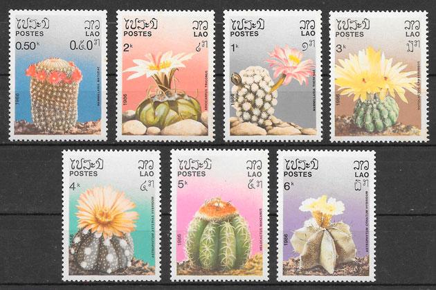 filatelia colección flora LAOS 1986