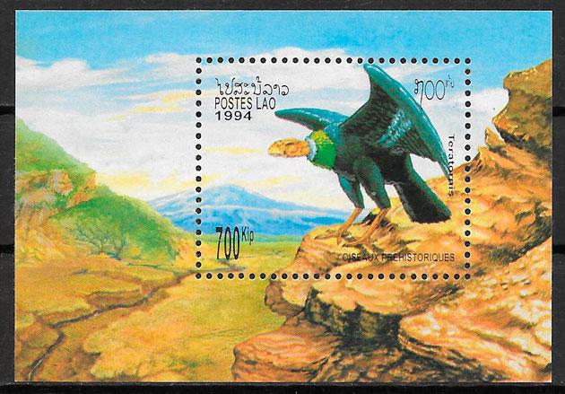 filatelia colección fauna prehistórica Laos 1994