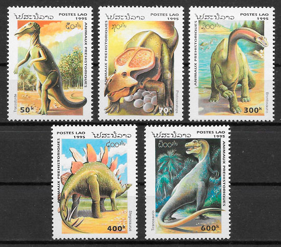 colección selos fauna prehistorica 1995