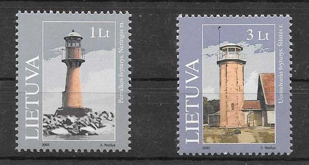 Sellos de Lituania faros 2003