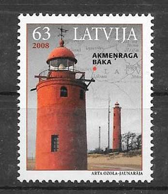 Estampillas Letonia-2008-01