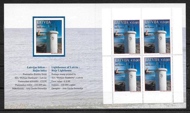 filatelia colección faros Letonia 2017
