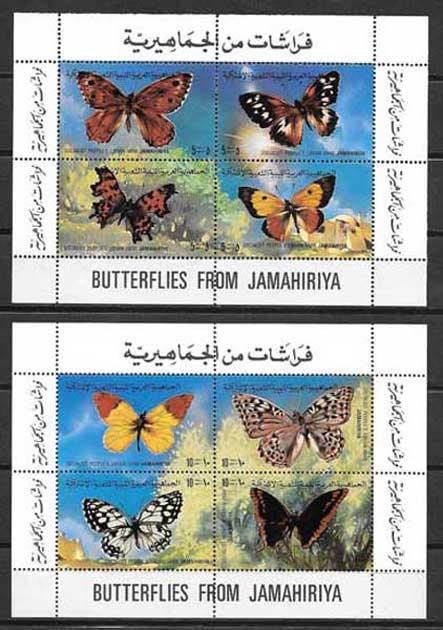 Filatelia mariposas de Libia 1981