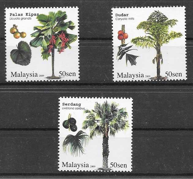 Estampillas flora Malasia 2009