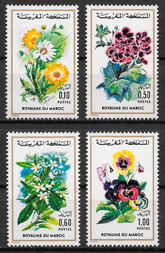 filatelia flora Marruecos 1975