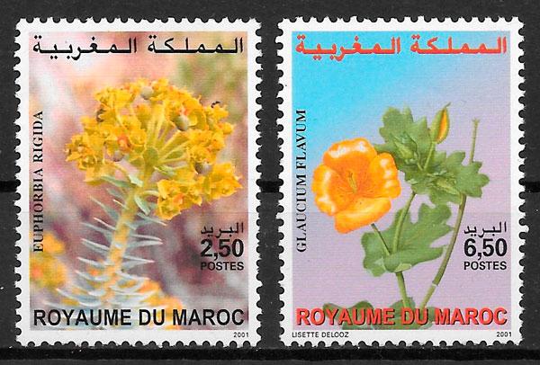 filatelia colección flores Marruecos 2001