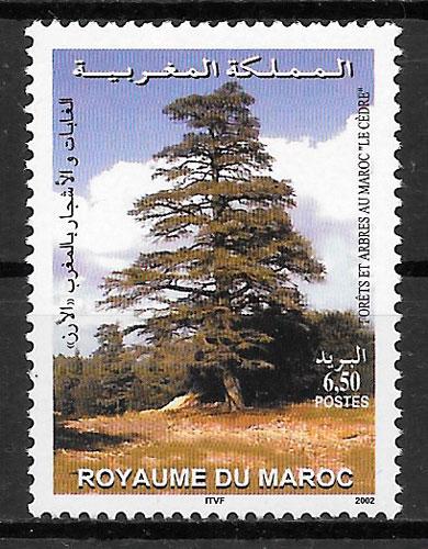sellos flora Marruecos 2002