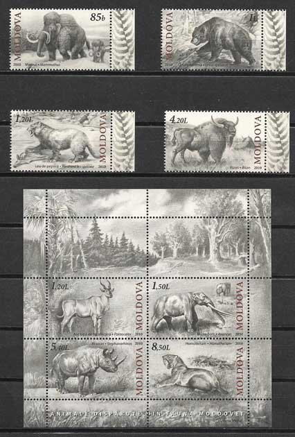Colección sellos animales prehistóricos Moldavia 2010