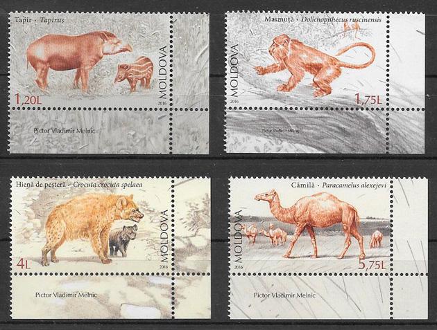 filatelia colección fauna Moldavia 2016