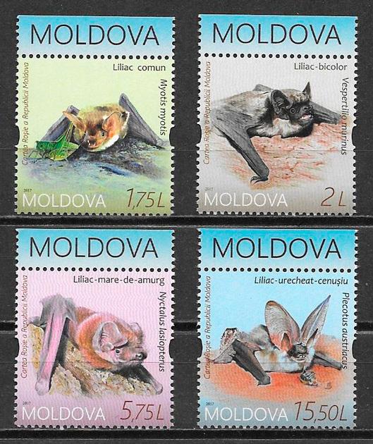 filatelia colección fauna Moldavia 2017