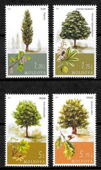 filatelia colección flora Moldavia 2018