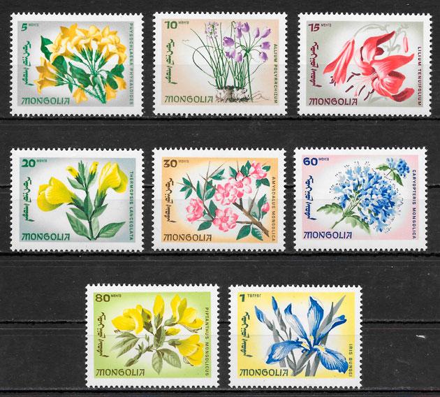 filatelia colección flora Mongolia 1966