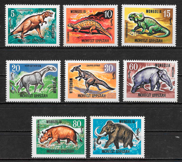 filatelia colección dinosaurios Mongolia 1967