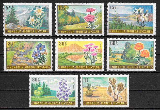 colección sellos flora Mongolia 1969