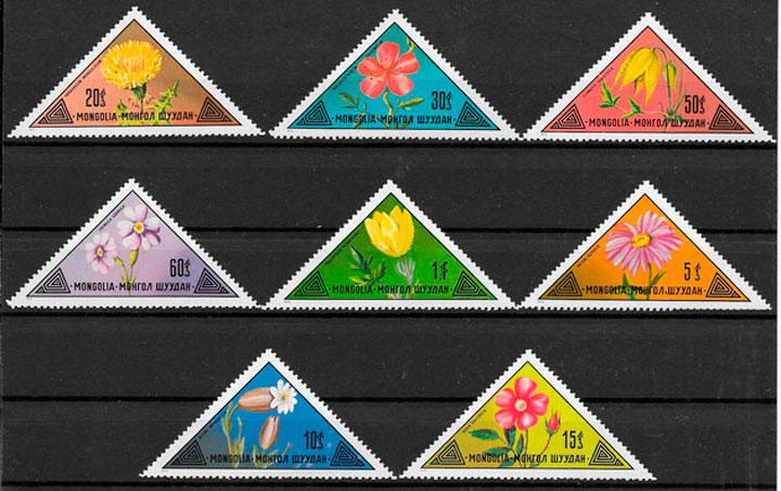sellos flora Mongolia 1973
