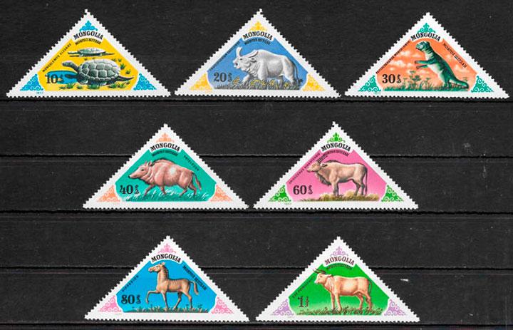 filatelia dinosaurios Mongolia 1977