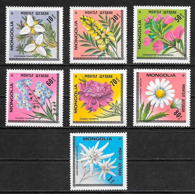 sellos flora Mongolia 1979