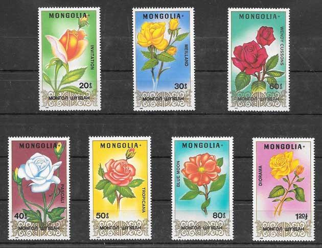 Sellos rosas diversa Mongolia 1988