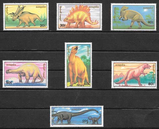 Colección sellos animales prehistóricos Mongolia 1990