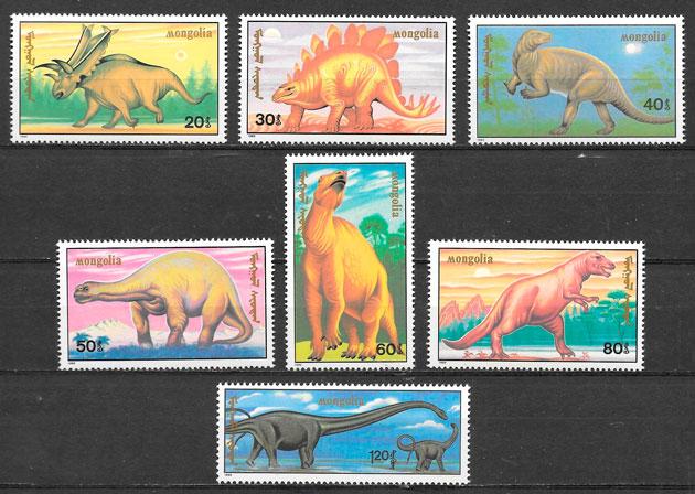 COLECCIÓN SELLOS dinosaurios Mongolia 1990
