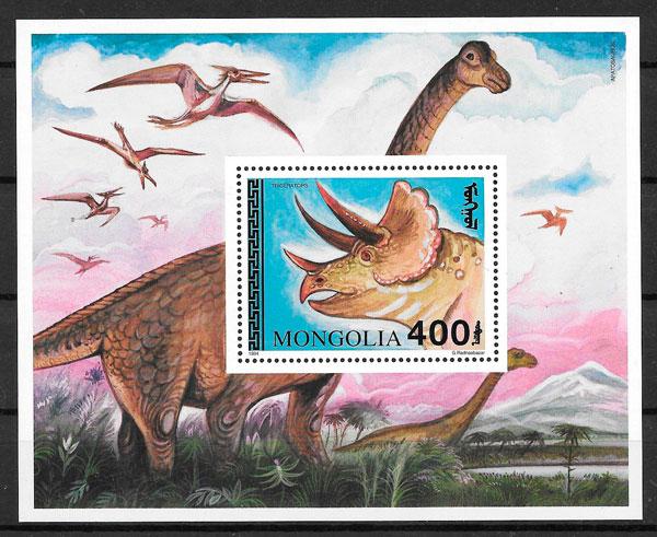 filatelia colección dinosaurios Mongolia 1994