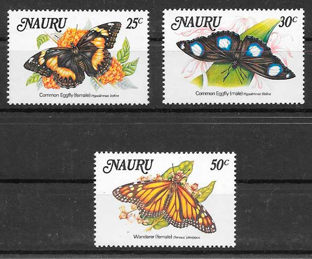 filatelia mariposas Nauru 1984