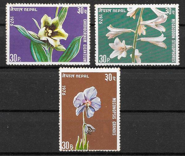 filatelia colección flores Nepal 1977