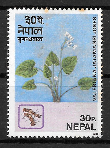 colección sellos flora Nepal 1980